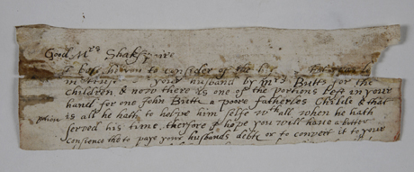 Is this 400-year-old letter in Hereford Cathedral's library connected to the family of William Shakespeare? Photo: Gordon Taylor/Chapter of Hereford Cathedral