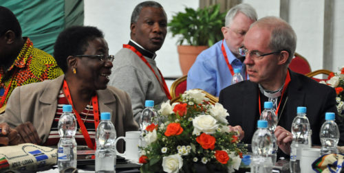 Deputy Rosalie Ballentine, the Episcopal Church's lay ACC member, has been sitting at the same table with Archbishop of Canterbury Justin Welby during the meeting. Photo: Mary Frances Schjonberg/Episcopal News Service