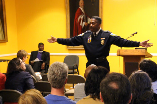 """Baltimore Police Lt. Col. Melvin Russell told a forum that """"community churches have become commuter churches."""" He urged church members to get more involved with local police. Photo: Diocese of Maryland"""
