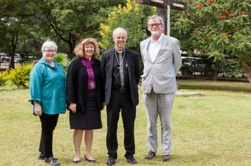 Suzanne Lawson (left), Bishop Jane Alexander, Archbishop of Canterbury Justin Welby and Archdeacon Michael Thompson pose during the Anglican Consultative Council meeting at the Cathedral of the Holy Cross in Lusaka, Zambia. Photo: Anglican Communion Office