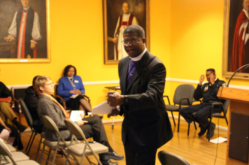 """Bishop Eugene Taylor Sutton stresses social sins of poverty and racism that lead to violence in our cities. He urged those at the community forum to """"encounter Christ"""" in their neighbors. Photo: Diocese of Maryland"""