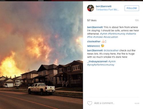 neighbourhoods have been devastated by the fire. Photo: Instagram/ben3bennet via Anglican Journal