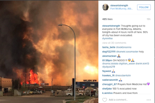 Many people in and around Fort McMurray have posted pictures on social media that capture the wildfires that forced 80,000 residents to evacuate. Photo: Instagram/stewartstrength via Anglican Journal