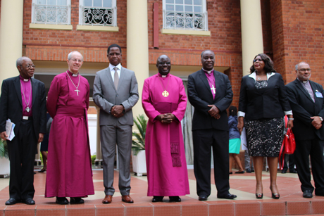 Bishop William Mchombo (fifth from left) was part of a delegation of church leaders who accompanied the Archbishop of Canterbury Justin Welby to a meeting with Zambian President Edgar Lungu (third from left) last month. Photo: Gavin Drake/Anglican Communion News Service