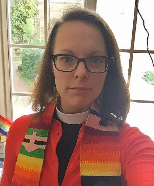 The Rev. Callie Swanlund, Diocese of North Carolina, was among those Episcopalians who posted photos of themselves on Facebook and Twitter June 2 wearing orange. Photo: Callie Swanlund via Facebook
