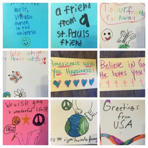 Como expresión de solidaridad, escolares en la iglesia episcopal de San Pablo [St. Paul's] en Nueva Orleáns hacen mensajes y tarjetas para que Carolina Carson, su directora de música, las lleve a Pakistán.