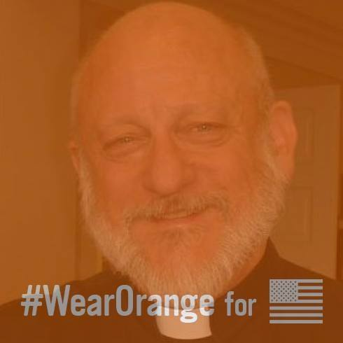 The Rev. C. Eric Funston of the Diocese of Ohio, who with the Rev. Rosalind Hughes, began encouraging Episcopal clergy to wear an orange stole on June 5, put up a temporary profile photo June 2 overlaying the Wear Orange logo on his face. Photo: Eric Funston via Facebook