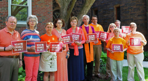 "The staff of the Diocese of Western Massachusetts' Diocesan House was wearing orange June 2 ""for all those who have been killed by guns in our cities, schools and in our homes."" Photo: Diocese of Western Massachusetts via Facebook"