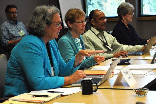 The Rev. Mally Lloyd, Executive Council member from the Diocese of Massachusetts, speaks June 8 during a meeting of council's Joint Standing Committee on Finances for Mission. Program, Budget and Finance committee member Barbara Miles is to her left, as is Treasurer Kurt Barnes and staff member Nancy Caparulo. Photo: Mary Frances Schjonberg/Episcopal News Service