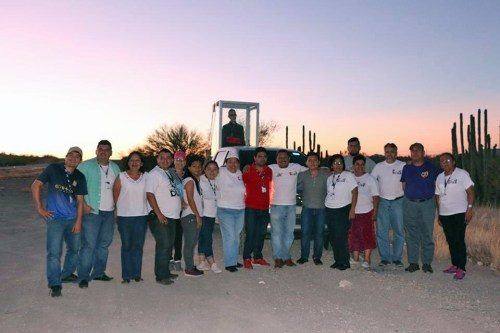 The pilgrims posed for a photo at the U.S.-Mexico border.