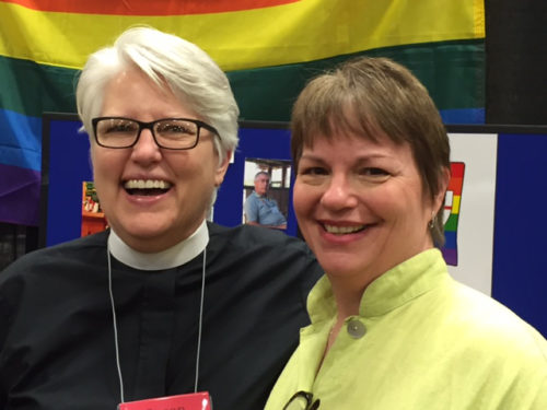 "The Rev. Susan Hrostowski (left) and Kathryn Garner, who are suing to repeal the ""religious freedom"" law."