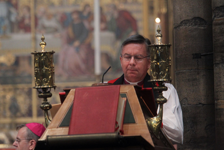 Archbishop David Moxon, director of the Anglican Centre in Rome, reads a lesson during a special service of choral evensong at Westminster Abbey, marking the centre's 50th anniversary. Photo: Westminster Abbey