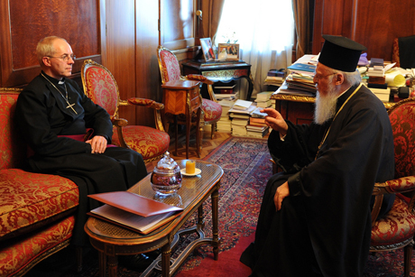 The Archbishop of Canterbury Justin Welby and the Ecumenical Patriarch Bartholomew during a meeting in Istanbul in January 2014. Archbishop Welby has called on Anglicans to pray for the Orthodox Churches Holy and Great Council which is getting underway in Crete. Photo: Lambeth Palace