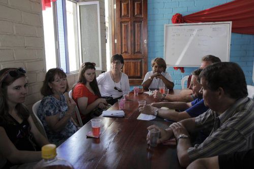 The group met with the Rev. Betty Juarez Villamar at St. Paul's Episcopal Church in Manta, one of the areas hardest hit by the April 16 earthquake. Photo: Lynette Wilson/Episcopal News Service