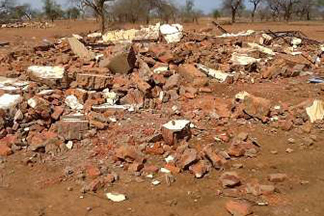 The remains of Grace Secondary School in Sudan's Nuba Mountains. Photo: Diocese of Kadugli