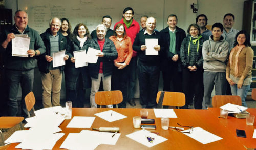 Members of an Chilean Anglican congregation show their work after a self-convening meeting to contribute to the government's new constitution process. Photo: Anglican Church of Chile