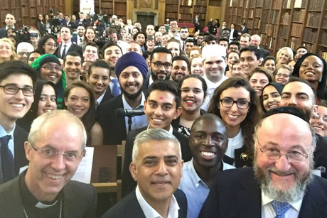 Mayor of London Sadiq Khan's selfie with Archbishop Justin Welby and Chief Rabbi Ephraim Mirvis in front of 100 young people from different faith groups has been widely shared on social media and praised as an example of UK unity at a time of increased community tensions and racist attacks. Photo: Sadiq Khan