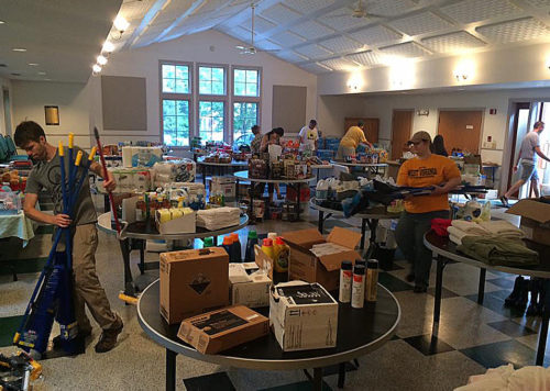 The parish hall of St. James' Episcopal Church, Lewisburg, West Virginia, has become a supply hub for the Greenbrier Valley. Photo: United Way of the Greenbrier Valley via Facebook