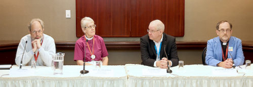 (L to R)  Chris Ambidge, Bishop Linda Nicholls, Stephen Martin and Dean Iain Luke discuss the proposed change to the marriage canon during a media briefing July 8. Photo: Art Babych