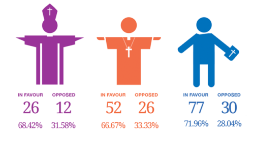 Recount shows the final numbers and percentages in the three orders: bishop, clergy and laity. Graphic: Saskia Rowley