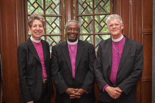 24th Presiding Bishop Edmond Lee Browning's past three predecessors pose for a photo following his memorial service July 19 in Portland, Oregon. From left are 26th Presiding Bishop Katharine Jefferts Schori, 27th Presiding Bishop Michael B. Curry and 25th Presiding Bishop Frank T. Griswold. Photo: Frank DeSantis, Diocese of Oregon