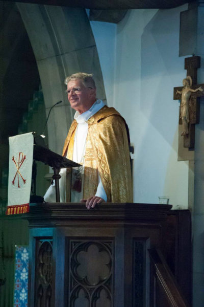 The Rt. Rev. Frank T. Griswold III, former presiding bishop of the Episcopal Church, preaching during the Aug. 14 institution of the Rev. Nathan J.A. Humphrey as rector of St. John the Evangelist Episcopal Church in Newport, R.I. Photo: Zach Allen