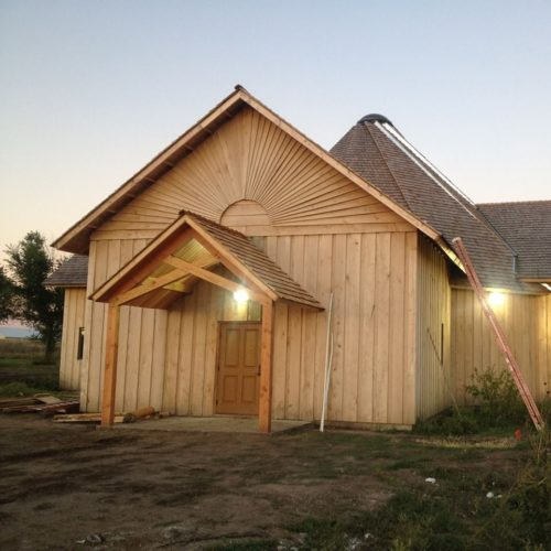 After a 2012 fire destroyed St. Jame's Church in Canon Ball the congregation rebuilt with the help of a UTO grant. The new structure is sip wall panel construction with six solid inches of insulation and heated with geothermal energy. Photo: Facebook