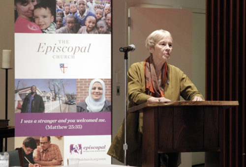 """Karen Koning AbuZayed speaks during """"One United People: A Dialogue on Refugee Resettlement and Faithful Welcome,"""" a Sept. 14 event sponsored by Episcopal Migration Ministries. Photo: Lynette Wilson"""