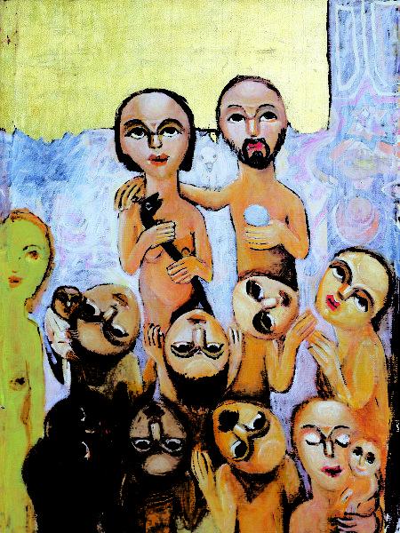 """""""Adán y Eva"""" por el artista egipcio Guirguis Lotfi."""