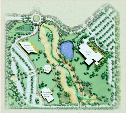 When complete, the Tri-Faith Initiative's campus will include a Jewish synagogue, a Christian church, a Muslim mosque all with pathways to a common tri-faith center at its nexus. Photo: A rendering provided by the Tri-Faith Initiative