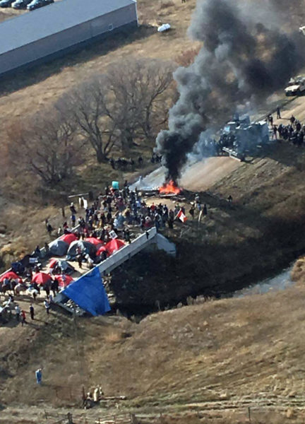 An Oct. 27 aerial photo from the Morton County Sheriff Department shows a fire reportedly set by Dakota Access Pipeline project opponents on County Road 134. Photo: Morton County Sheriff Department via Facebook