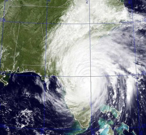 Hurricane Matthew, packing winds of 115 mph, scrapes along the Florida coast Oct. 7, heading for Georgia and the Carolinas. Photo: U.S. Naval Research Laboratory