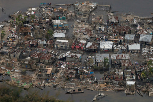 Destroyed houses are seen in a village after Hurricane Matthew passed Corail, Haiti, Oct. 6. Photo: REUTERS/Carlos Garcia Rawlins