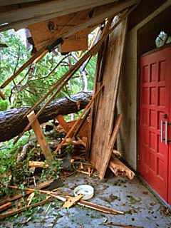 Trees knocked down in Hurricane Matthew lie outside of the doors of St. Francis of the Islands Episcopal Church in Savannah, Georgia. Photo: Diocese of Georgia via Facebook