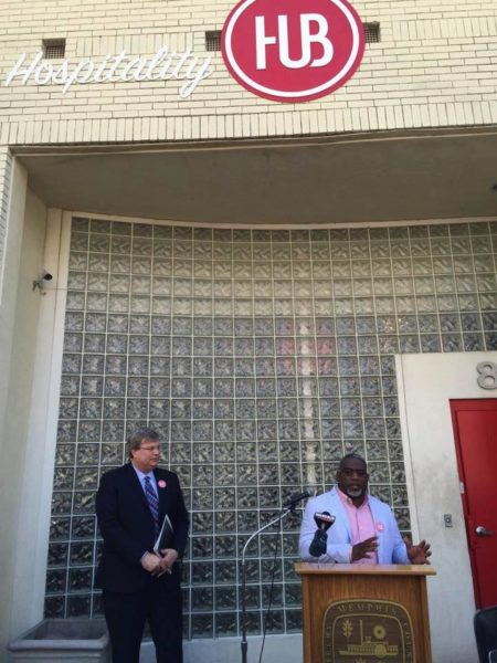 Memphis Mayor Jim Strickland listens as Hospitality Hub director of operations Kelcey Johnson speaks at a news conference in September announcing the Work Local program. Photo: Hospitality Hub, via Facebook