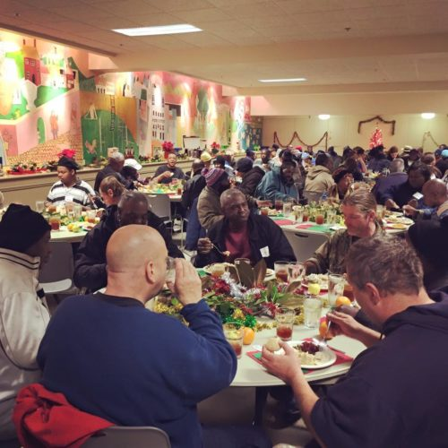 Dinner is served for several hundred homeless residents of Memphis in December at Calvary Episcopal Church's annual Emmanuel Meal. The church also serves a free breakfast for the homeless every Sunday morning. Photo: Calvary Episcopal Church, via Facebook