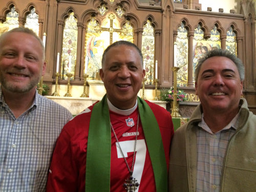 The Very Rev. W. H. Mebane, interim dean of St. Paul's Cathedral in Buffalo, New York, recently preached a sermon exploring San Francisco 49ers quarterback Colin Kaepernick's national anthem protest. Ohio friends John Lauro, left, and Scott Williams, right, came to hear him. Photo: St. Paul's Cathedral