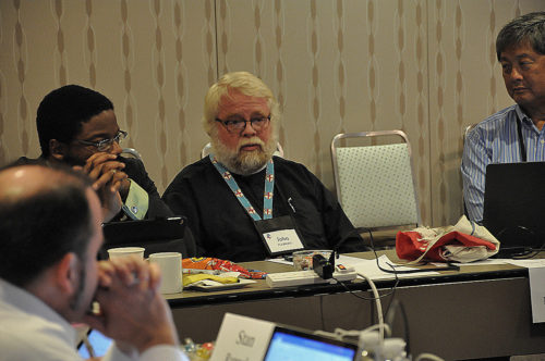 The Rev. John Floberg, council member from North Dakota, tells council's Advocacy and Networking for Mission committee Oct. 21 that the Standing Rock Sioux Nation's action against the Dakota Access Pipeline project is fraught with tension as well as filled with grace. Photo: Mary Frances Schjonberg/Episcopal News Service