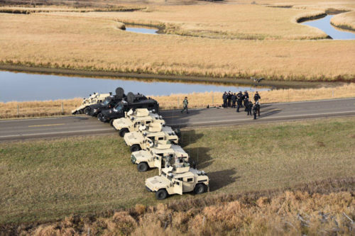 Law-enforcement authorities Oct. 28 block Highway 1806, shutting it off to traffic from Fort Rice to Cannonball on the Standing Rock Sioux Nation reservation in North Dakota. Photo: Morton County Sheriff Department via Facebook