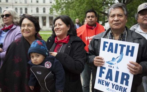 Farmworkers at a rally in New York. Photo: Rural & Migrant Ministry