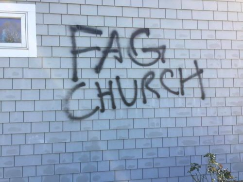 "Vandals spray-painted ""Fag Church"" on the exterior of St. David's Episcopal Church in Bean Blossom, Indiana, sometime either late Nov. 12 or early Nov. 13. Photo: Facebook"