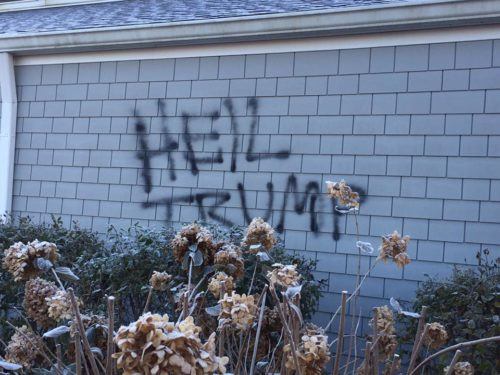 "Vandals spray-painted ""Heil Trump"" on the exterior of St. David's Episcopal Church in Bean Blossom, Indiana, sometime either late Nov. 12 or early Nov. 13. Photo: Facebook"
