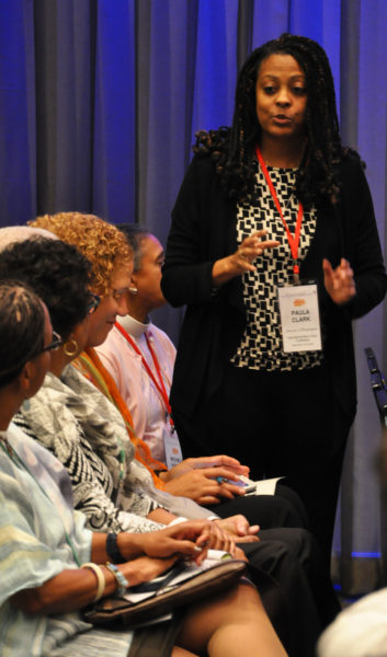 The Rev. Paul Clark, canon for clergy development and multicultural ministries in the Diocese of Washington, speaks about the response to a Nov. 12-13 incident of vandalism at Church of Our Saviour in Silver Spring, Maryland. She made her remarks during an evening discussion prior to the start of the Nov. 16-19 Episcopal Church International Black Clergy Conference in Houston, Texas.