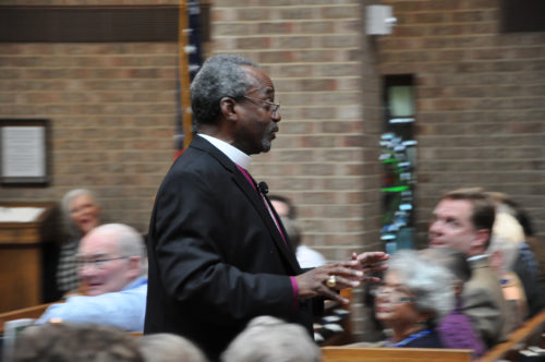 Presiding Bishop Michael Curry was always on the move during his time at the Evangelism Matters conference at Church of the Transfiguration in Dallas, Texas. Photo: Mary Frances Schjonberg/Episcopal News Service