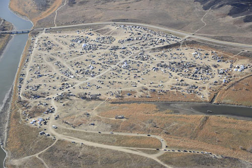 Dakota Access Pipeline protesters have formed the Oceti Sakowin campground north of the Cannonball River and near the town of Cannon Ball, North Dakota. Photo: Morton County Sheriff's Department