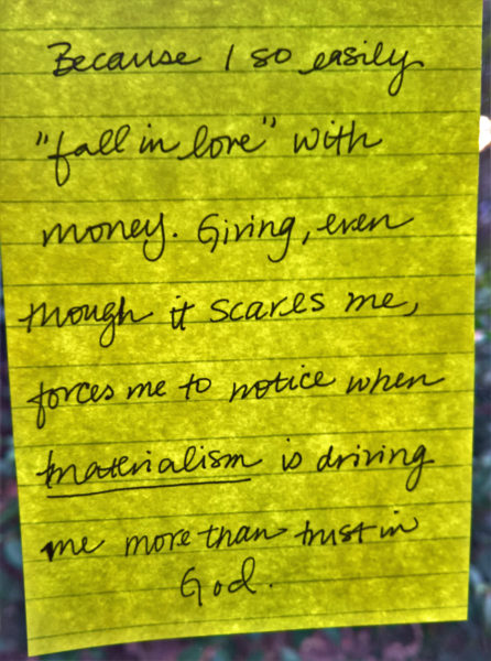 One of the many Post-It notes on the Giving Wall at St. Bartholomew's Episcopal Church in Poway, California. Photo: St. Bartholomew's Episcopal Church