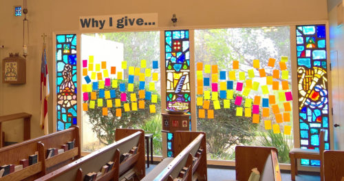 The Giving Wall at St. Bartholomew's Episcopal Church in Poway, California, is filled with parishioners' reasons for why they commit to giving to the church. Photo: St. Bartholomew's Episcopal Church