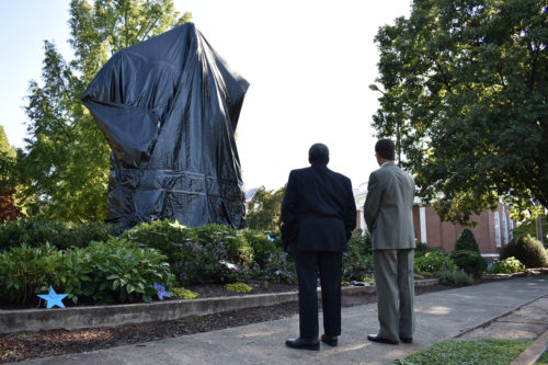 Presiding Bishop Michael Curry at Charlottesville statue of Lee