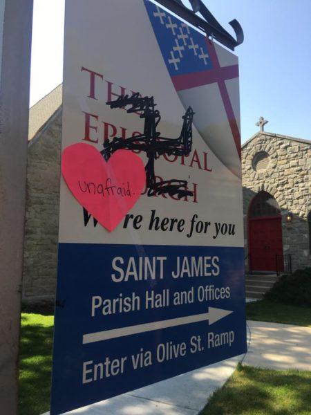 St. James sign unafraid