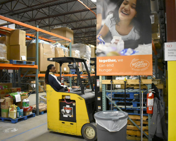Madison food bank warehouse forklift